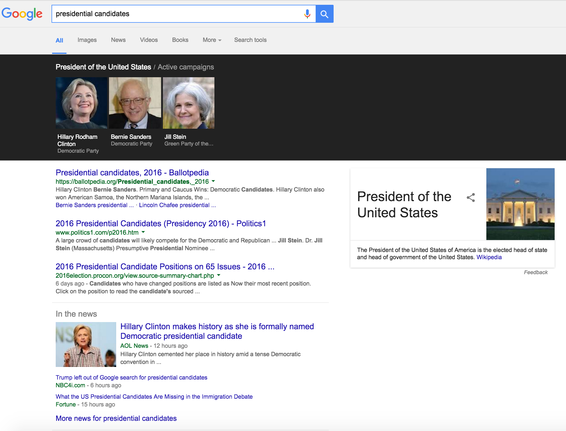 Presidential Candidates? Someone's Missing Google!